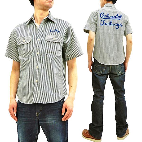 シュガーケーン SC38162 ヒッコリーストライプ ワークシャツ 刺繍カスタム メンズ 半袖シャツ オフ白 新品