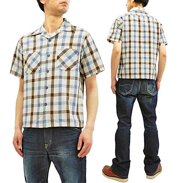 シュガーケーン SC38196 オープンシャツ 東洋 50s トム・ソーヤー チェック メンズ 半袖シャツ ネイビー 新品