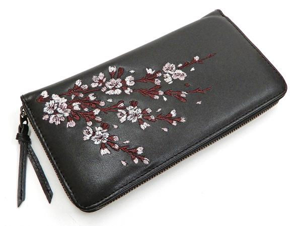 花旅楽団 レザーウォレット SLWL-501 桜刺繍 メンズ 和柄 ラウンドジップ 財布 ブラック 新品