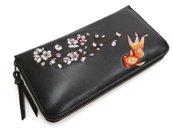花旅楽団 レザーウォレット SLWL-502 桜と金魚刺繍 メンズ 和柄 ラウンドジップ 財布 ブラック 新品