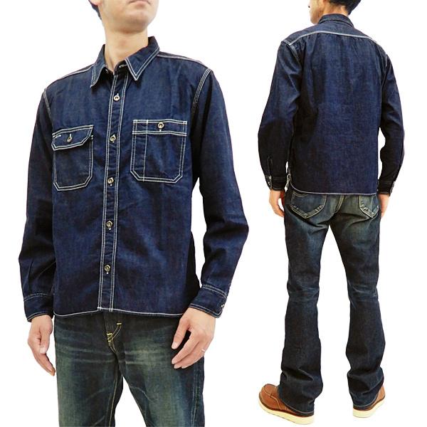桃太郎ジーンズ 05-252 デニムシャツ メンズ 無地 長袖シャツ 着丈短め ワークシャツ インディゴブルー 新品