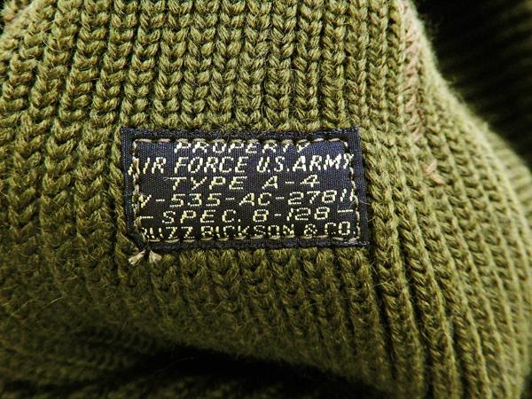 Buzz Rickson Men's USAAF A-4 Mechanics Cap Stencil Wool Knit Winter Hat  BR02603 Olive Green