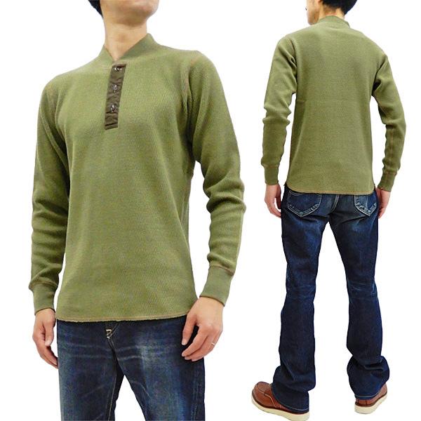 バズリクソンズ BR68130 サーマル ヘンリーネック 長袖Tシャツ 無地 メンズ ワッフル ロンtee オリーブ 新品
