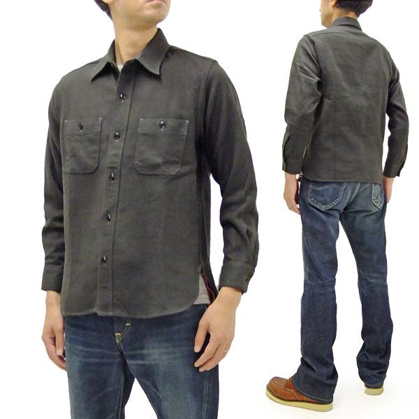 シュガーケーン SC27961 無地 長袖シャツ 東洋 メンズ ワークシャツ 起毛コットンツイル ネルシャツ 115グレー 新品