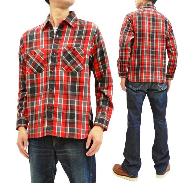 シュガーケーン SC28237 ツイルチェック ワークシャツ 東洋 メンズ 長袖シャツ ネルシャツ 165レッド 新品