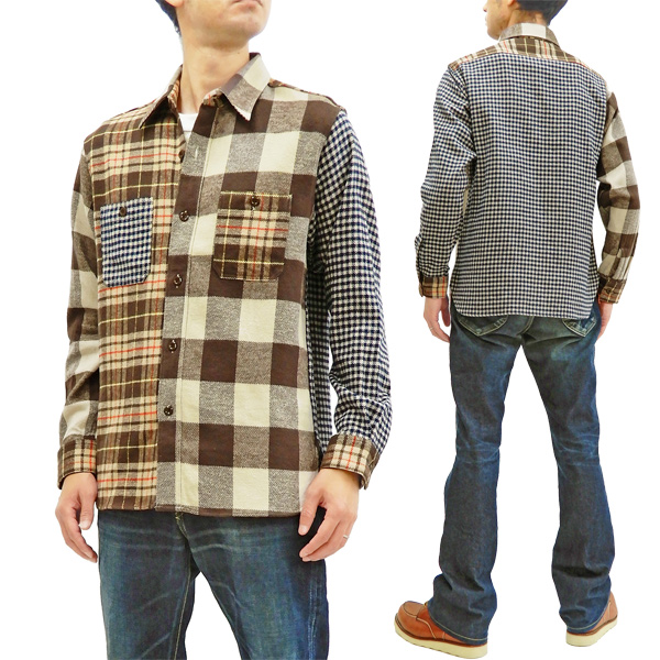 Sugar Cane Shirt with Mixed Check Panels Men's Casual Plaid Long Sleeve  SC28239 Brown