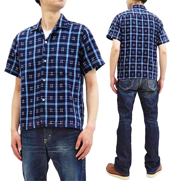 シュガーケーン 半袖シャツ SC38456 東洋 Sugar Cane ドビーチェック ネイビー 格安 メンズ オープンシャツ ☆新作入荷☆新品 新品