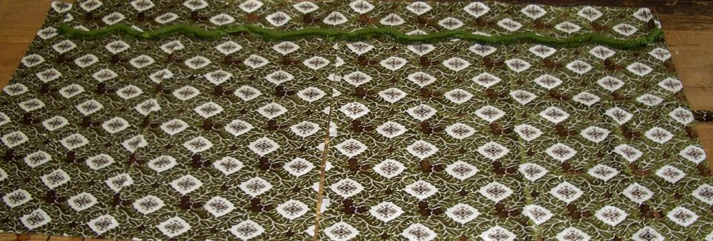 3点式センターカーテン 新格子、大花束、花かご、ローレル