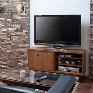 【送料無料】 アメリカンヴィンテージ風 折れ戸式テレビボード 幅118cm ブラウン色 TE-0171 [スライド式の折れ戸タイプの木製テレビボード]