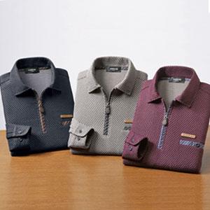 【送料無料】 ハニカム ジップアップポロシャツ 同サイズ3色組 [左胸ポケット付き]