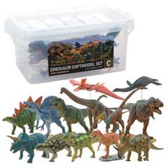 【即出荷】ダイナソーソフトモデル セットC FDW-103 8057bq 【送料無料+専用BOX+地面ベース付】 [恐竜 模型 フィギュア 13体セット フェバリット 人形 ダイナソーセット]