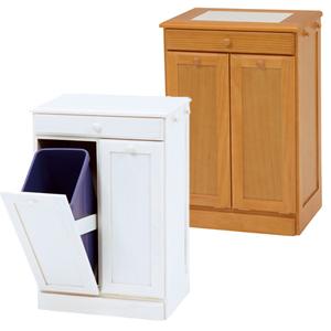 ダストボックス MUD-6720 ■送料無料■ [キッチンカウンターゴミ箱 ダストボックス2分別 家具調ゴミ箱 木製 15リットル 隠しキャスター付き]