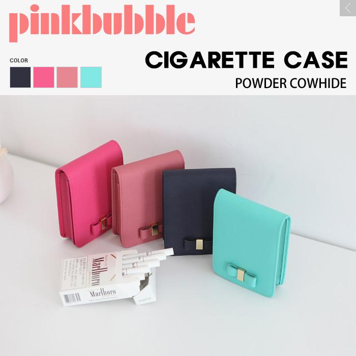 可爱的烟盒带镜子可爱软烟草豪华皮革烟盒女士烟盒妇女烟盒盒香烟流行邮袋袋长丝带牛皮革箱