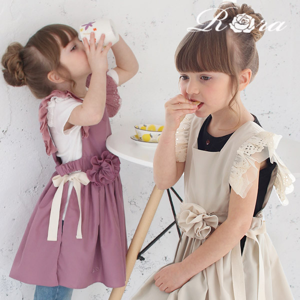 子供服Rora コージー エプロン ドレス (2wayコサージュセット)(2color) エプロン ドレス エプロンワンピース