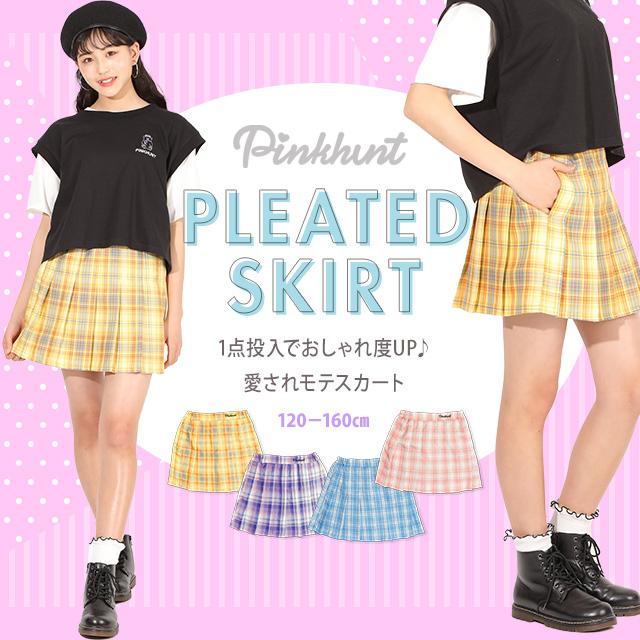 ガールズボトム ミニスカ# NEW PINKHUNT ピンクハント チェック プリーツ スカート 5444K 子供服 キッズ ジュニア 女の子 PH 中学生 ファッション 服 小学生 かわいい 韓国子供服 プチプラ 愛されモテスカート