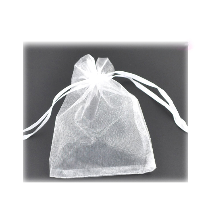 12×9cm 5枚入 オーガンジー巾着袋 ホワイト / ラッピング用品 半透明 プレゼント用品 店舗備品 保管用 白色【ゆうパケット対応】