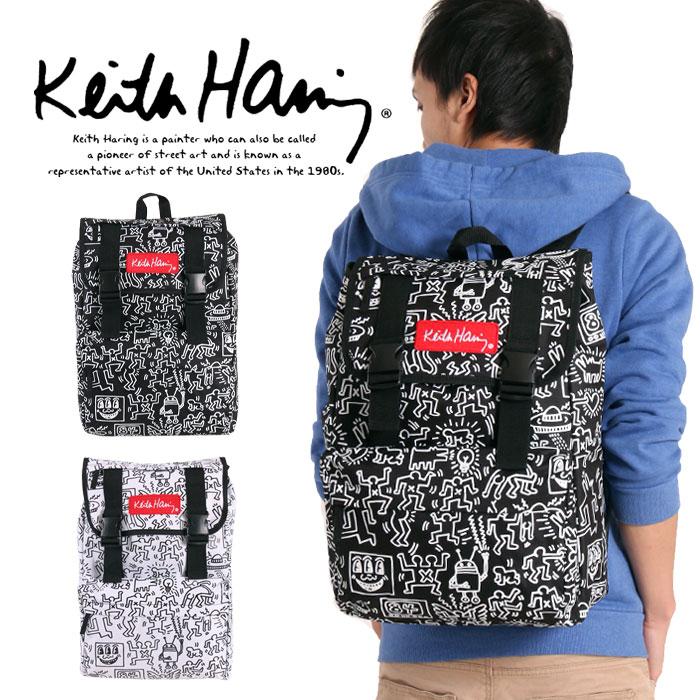 f1e7523e91e0 ... メンズ リュックサック かわいい Keith Haring 高校生 バックル KHB-CV-15002 PS 男女兼用 スクエアリュック 通学  デイパック リュック 通勤 黒 フラップ キース ...