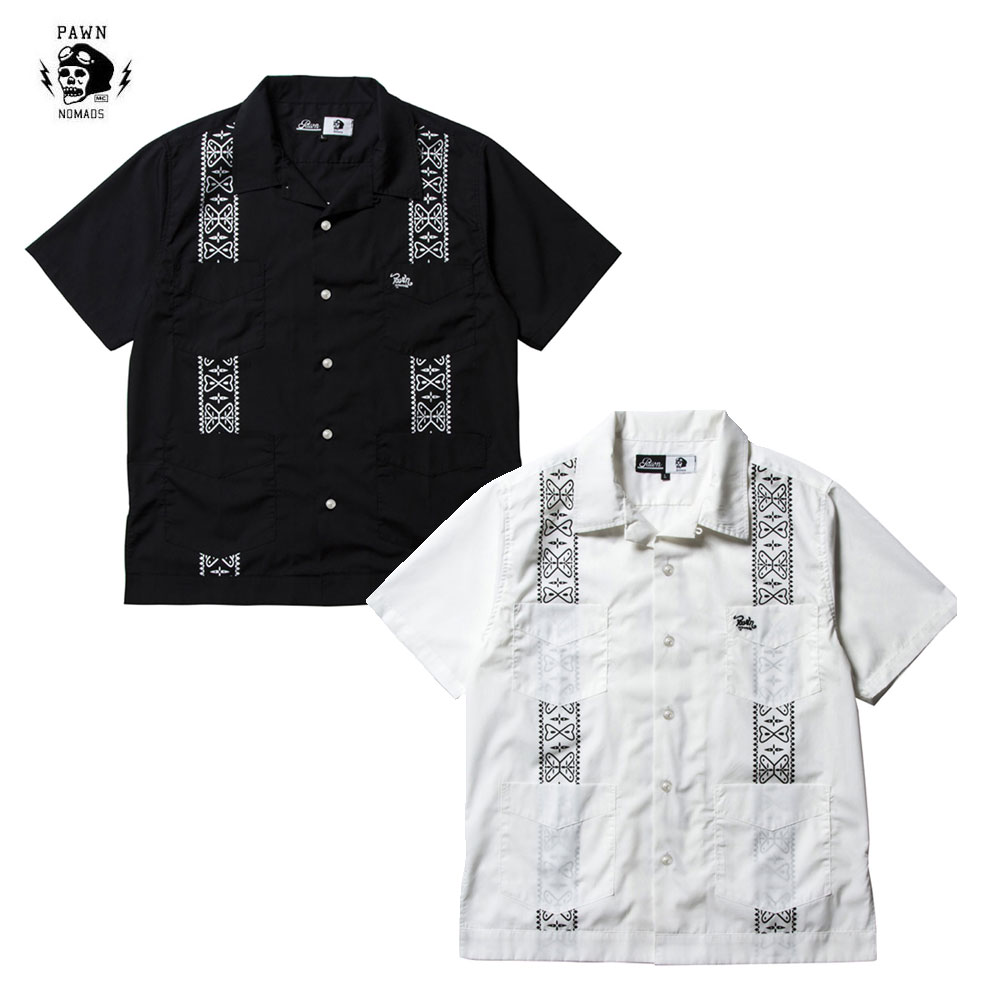 【送料無料!!】PAWN(パーン)CUBA SHIRTS ブラック/ホワイト