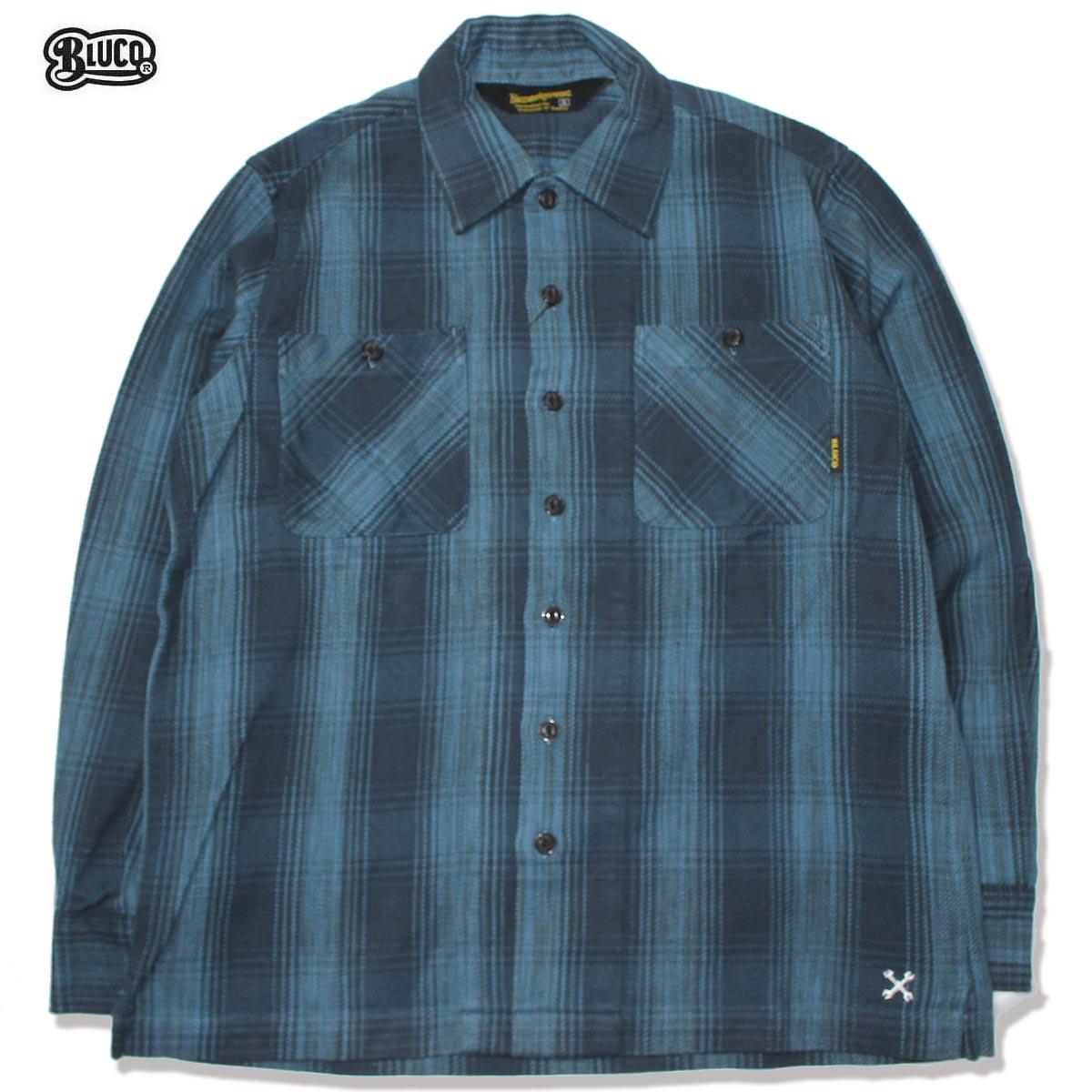 ☆送料無料☆BLUCO(ブルコ) OL-047-019 HEAVY NEL SHIRTS -ombre check-BLU