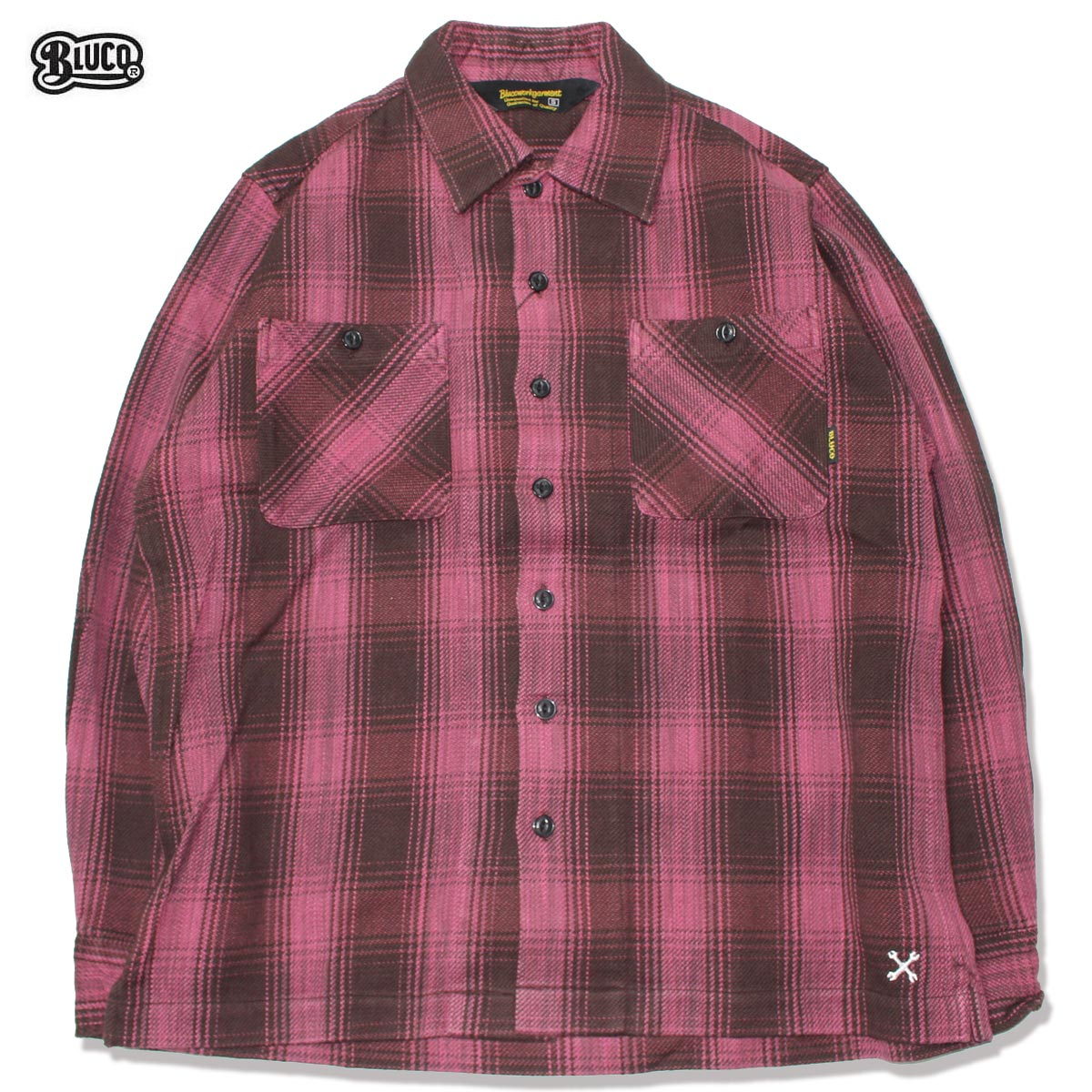 ☆送料無料☆BLUCO(ブルコ) OL-047-019 HEAVY NEL SHIRTS -ombre check-PPL