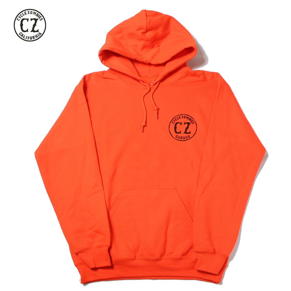 ☆送料無料☆Cycle Zombies(サイクルゾンビーズ)GARAGE Pull Over Hooded Sweatshirt Orange