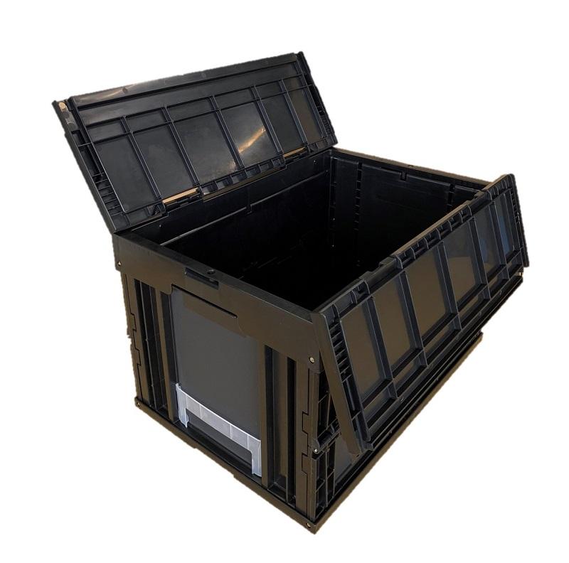 おしゃれで丈夫!物流・インテリア・生産管理・スペース節約に  松本産業 オリコン 折りたたみコンテナ 50L ブラック (F50BL) フタ一体型 カード差し付き 業務用