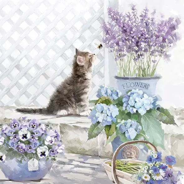 ペーパーナプキン40枚までメール便可 スーパーセール期間限定 パーティー プチギフト デコパージュに最適 1パック 20枚入りもあります オランダ Ambiente 素敵な4つ折りアンティークな ペーパーナプキン あじさい デコパージュ バラ売り 贈り物 マーガレット Kitten パンジー ☆かわいい子猫とガーデン 1枚 春の花☆