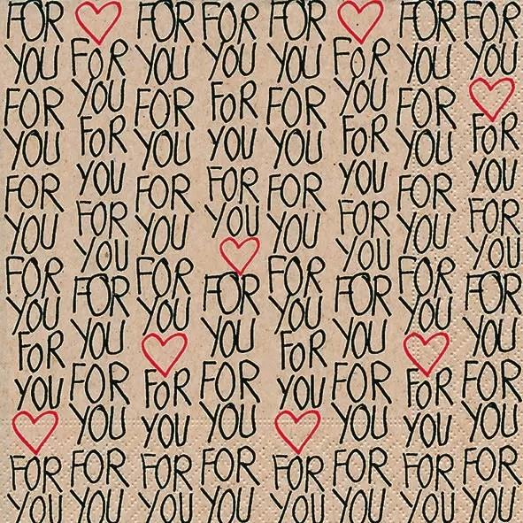 日本正規品 ペーパーナプキン40枚までメール便可 パーティー プチギフト デコパージュに最適 1枚 バラ売りもあります Paper+Design ハート☆ かわいい For 20枚入り デコパージュ☆For You ペーパーナプキン ストア