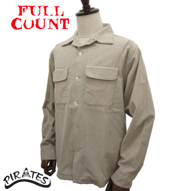 FULLCOUNT フルカウント オゾン中古加工 コーデュロイ オープンカラーシャツ 4026