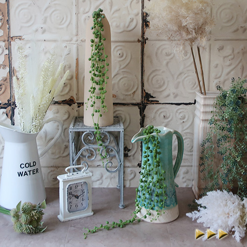 ディスプレイ お部屋のインテリアに 造花 グリーンネックレス シルクフラワー 期間限定送料無料 アウトレット アートフラワー