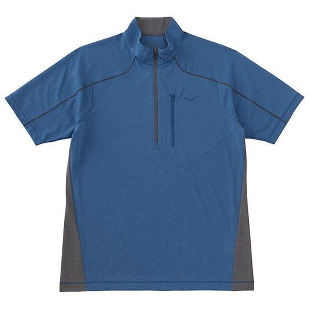 ライトインナー半袖ジップネックシャツ(13ブルーネイビー)ミズノ●アウトドア ウエア 長袖/半袖シャツ(A2JA506213)*64