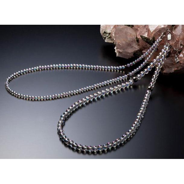 チタン水晶ネックレス(+5cmアジャスター)【PHITEN】ファイテンボディケアグッズソノタ(AQ812053)*00