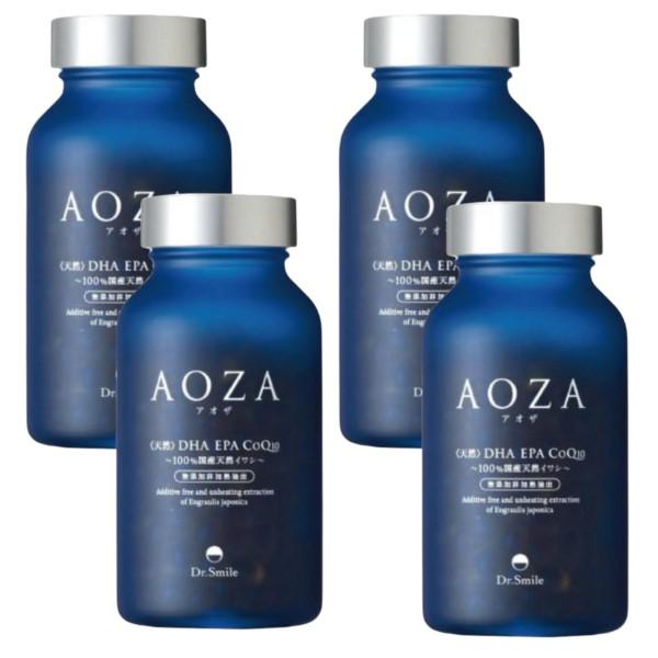 CoQ10 青魚 必須脂肪酸 n-3系脂肪酸 Dr.Smile 4個セット 定番の人気シリーズPOINT(ポイント)入荷 最安値に挑戦 AOZA アオザ コエンザイムQ10 オメガ3 日本製 美容サプリメント EPA 国産カタクチイワシ使用 DHA ドクタースマイル