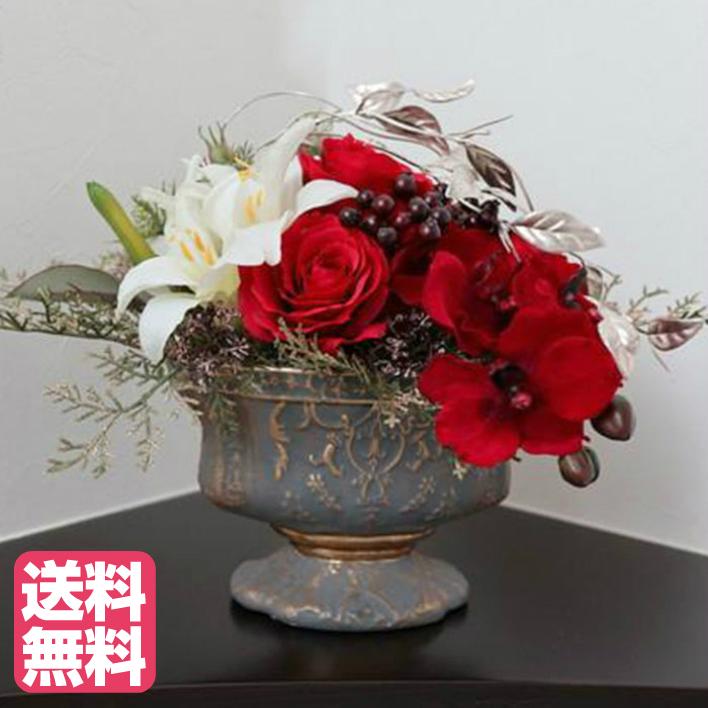 赤バラと胡蝶蘭のオーバルアレンジ