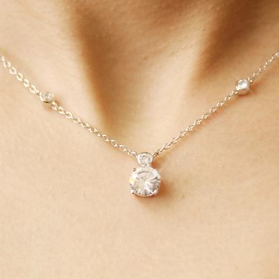 Big 2 Carat CZ diamond silver necklace fs3gm