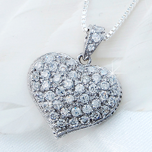 パヴェフルハート CZ diamond ( cubic zirconia ) silver necklace fs3gm