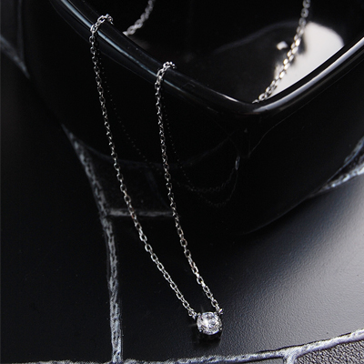 0.2 Carat CZ diamond K14 white gold necklace fs3gm.