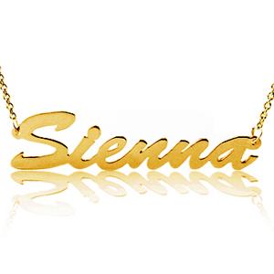 シェナ・ミラースタイルK10,K14イエロー/ホワイトゴールド ネームネックレス(シングルプレート)【送料無料】【代金引換不可】【イニシャル】
