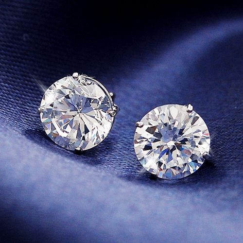 0 3 Carats 5 Ct Cz Diamond K14 White Gold Earrings Past Two Erie スキンジュ Fs3gm