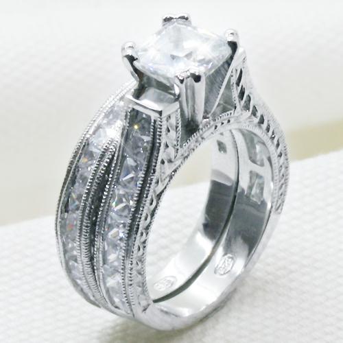 2.5カラット プリンセス 2連シルバーリング(指輪)【送料無料・代引手数料無料】