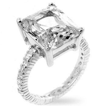 5 Carat Emerald Cut Cz Diamond Silver Ring Fs3gm