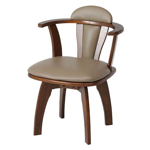 『回転ダイニングチェアー 肘付き』 回転椅子 ダイニングチェア 回転イス 回転チェア ダイニングチェアー チェア 椅子 イス 食卓椅子 レトロ シンプル ブラウン 茶色 木製 天然木 肘付 ひじ付き 回転 360度回転 ダイニング