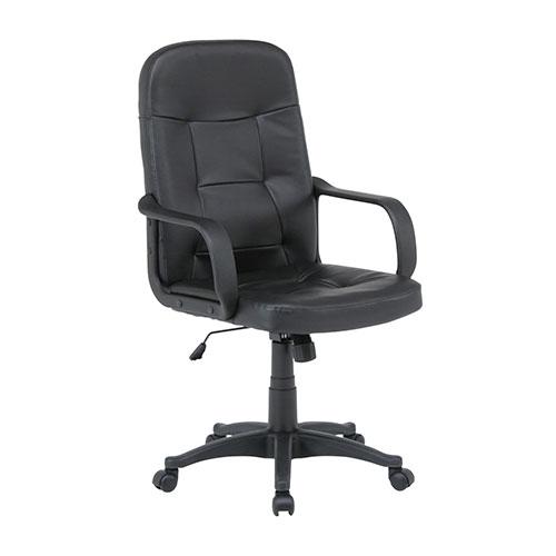 【送料無料】『 レザーチェア 』 オフィスチェア オフィスチェアー 椅子 イス デスクチェア デスクチェアー キャスター付き 肘付き 肘掛け 肘掛 オフィス ガス圧昇降式 ブラック 黒 高さ調整 高さ調節 ソフトレザー 合成皮革 事務 ロッキング
