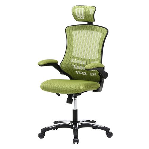 【送料無料】『 アームアップ チェア 』オフィスチェア オフィスチェアー イス 椅子 いす デスクチェアー メッシュチェアー ヘッドレスト付き ガス圧昇降式 高さ調節 高さ調整 肘掛 肘付き キャスター付き グレー レッド 赤 グリーン カラー 通気性