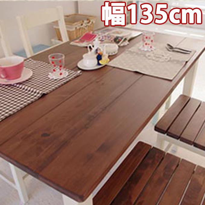 mam マム 『クレソン ダイニングテーブル135 CRESSON DINING TABLE 135』 食卓テーブル ダイニングテーブル 作業机 4人用 四人用 フレンチカントリー 無垢材 木製 天然木 ホワイト ナチュラル 白 おしゃれ レトロ アンティーク調