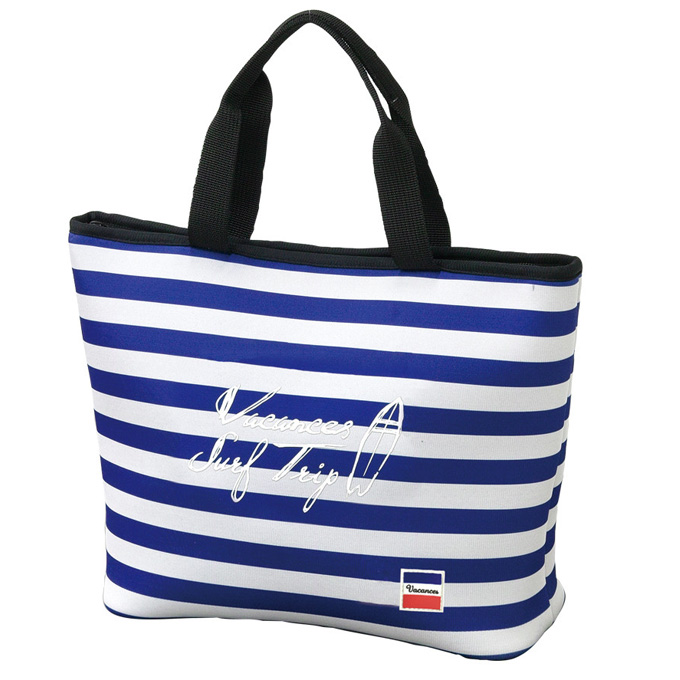 Vacation Cooler Tote Bag Blue Border Insulated Bags Leisure Curated Soft Picnic Fashion