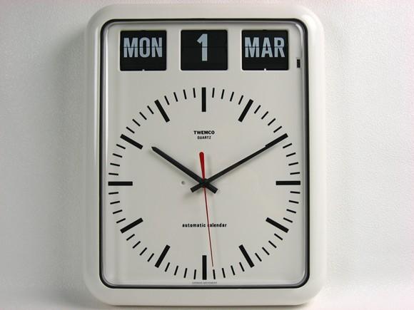 TWEMCO トゥエンコ 『パタパタカレンダークロック アナログ式』 インテリア小物 BQ-12B 時計 壁掛け時計 壁掛時計 掛け時計 おしゃれ 壁掛け アナログ 連続秒針 カレンダー レトロ カレンダークロック 香港 ホワイト ブラック トゥエムコ