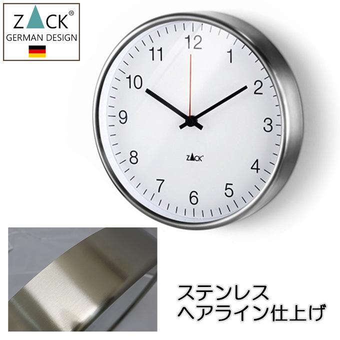 機能美のドイツデザイン 『ZACK 掛け時計 おしゃれ シンプル ステンレス ヘアライン 約30cm 丸形 ラウンド ホワイト』 壁掛け時計 掛時計 壁掛時計 おしゃれ かっこいい モダン アラビア数字 ギフト 贈り物 プレゼント 引っ越し祝い 引越し祝い 新築祝い