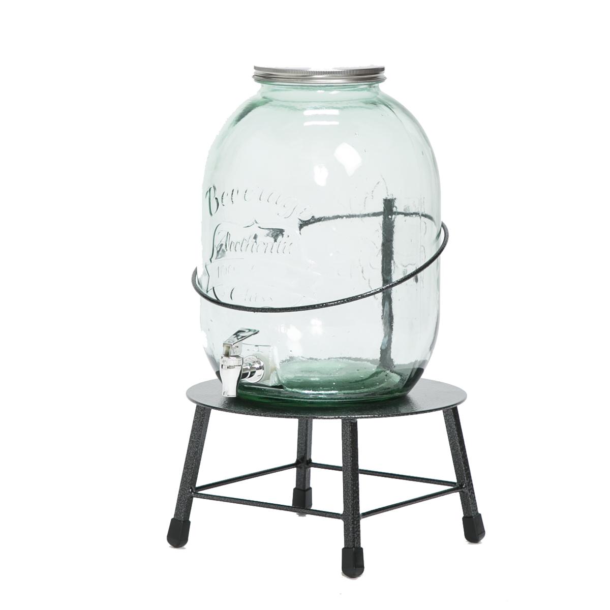 『Accent+ ドリンクサーバー Low』 おしゃれ ドリンクディスペンサー ガラス ブルー 果実酒 日本製 ふた付き スタンド 透明 フルーツブランデー ジュースサーバー ウォーターサーバー 蛇口 丸底 アイアン スタンド付き スタンド 大容量 保存容器 かわいい
