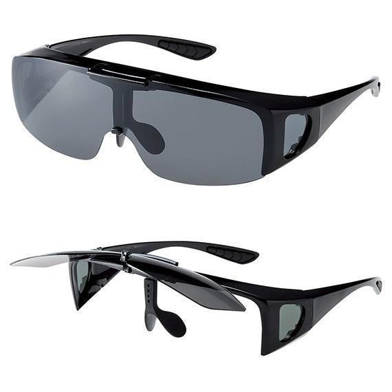 偏光サングラス メガネの上から オーバーグラス 跳ね上げ メガネケース付 M-Lサイズ スモーク偏光